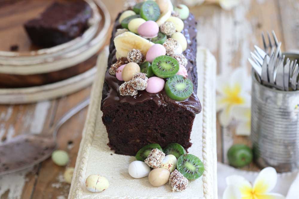 Banana Chocolate Loaf with fruit and choclate