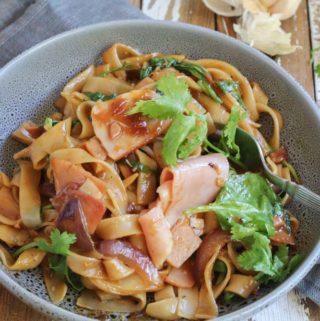 Ham stir fry with noodles