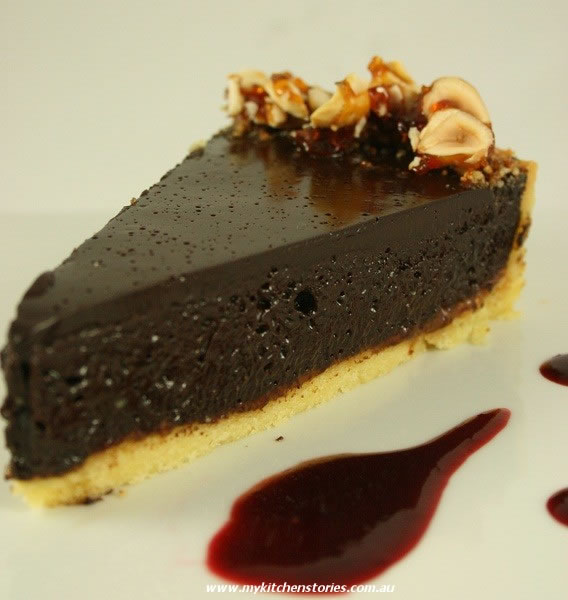 Dark Chocolate Tart with Hazelnut Praline
