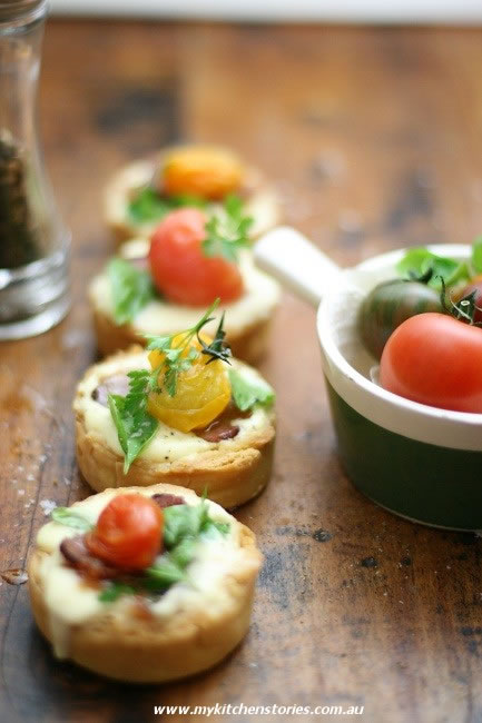 Tomato Tarts with heirloom Tomatoes