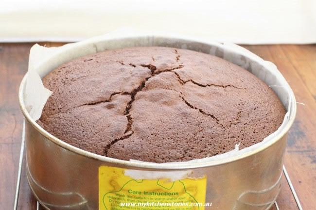 Chocolate Almond Cake in a cake tin