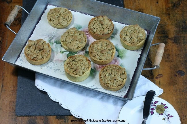 Apple Crumble Tarts on a large tray