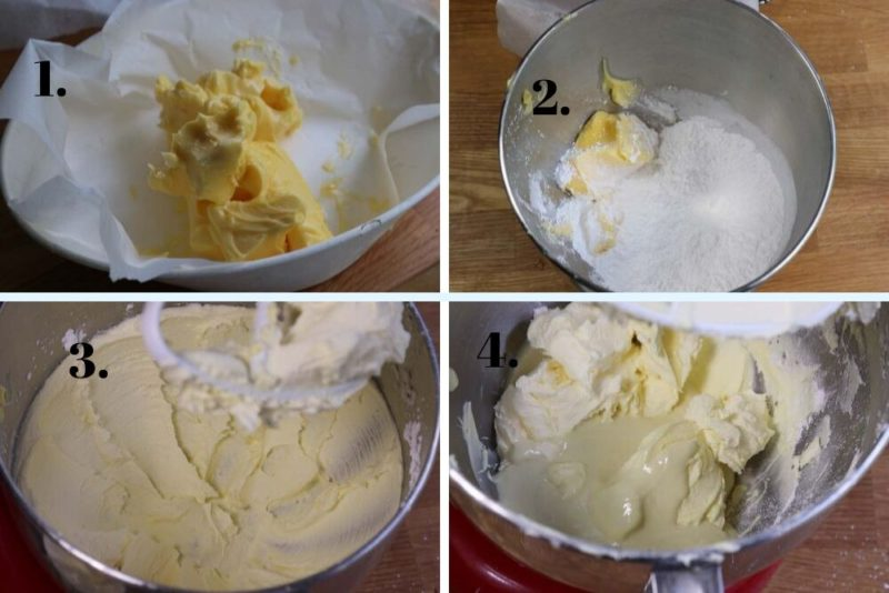 Making white chocolate icing / frosting in steps