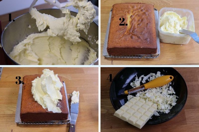 Final steps to frosting a white chocolate cake