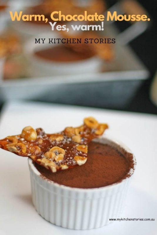 Freshly baked chocolate mousse in a ramekin