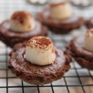 Chocolate Salted Caramel tarts on a rack
