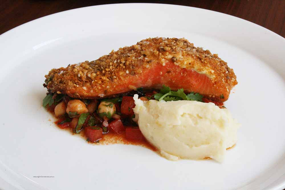 Dukkah Crusted Ocean trout with lemon