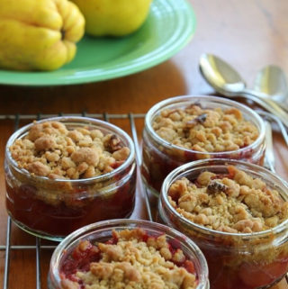 Quince Raspberry Crumble in pots