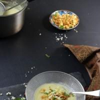 Cauliflower cheddar soup in a big pot