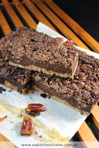 Chocolate Date Slice with fresh dates