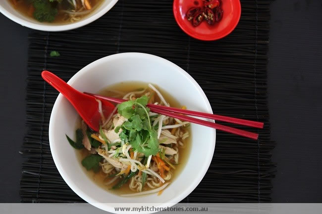 Chicken Noodles Soup with chopsticks