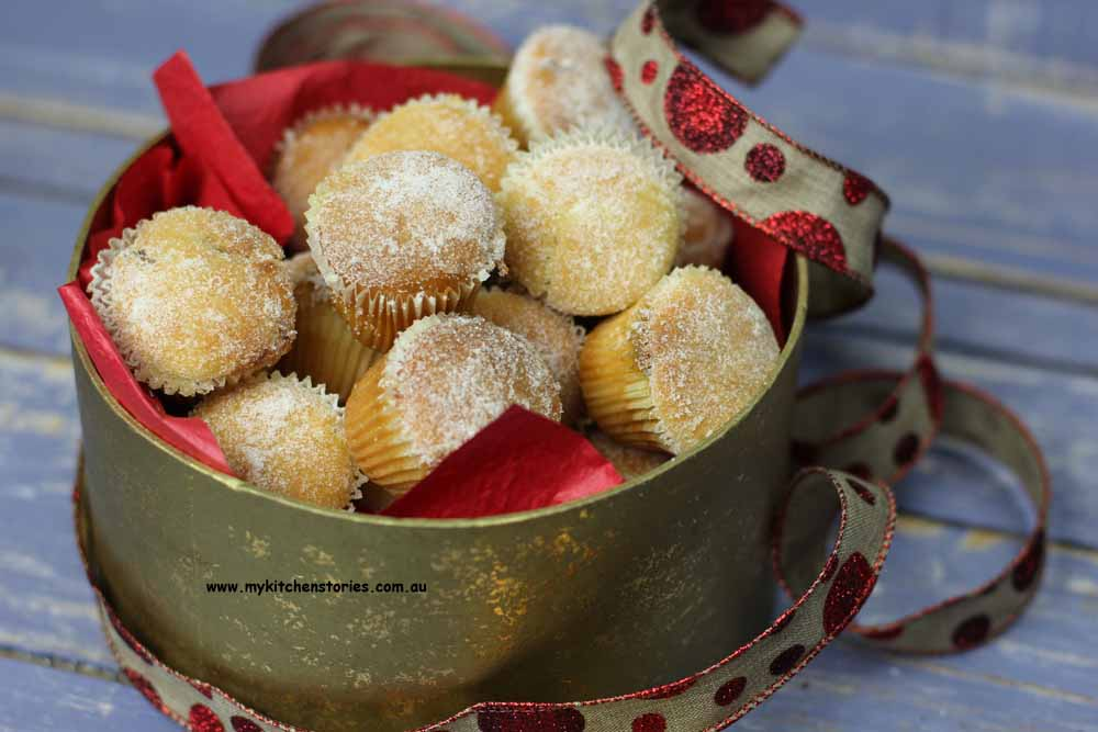 fruit mince muffins in a gold box with ribbon