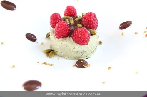Semifreddo No Churn Icecream with raspberries