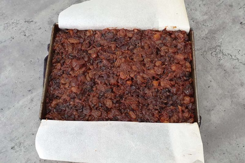 The filling for a fruit mince slice