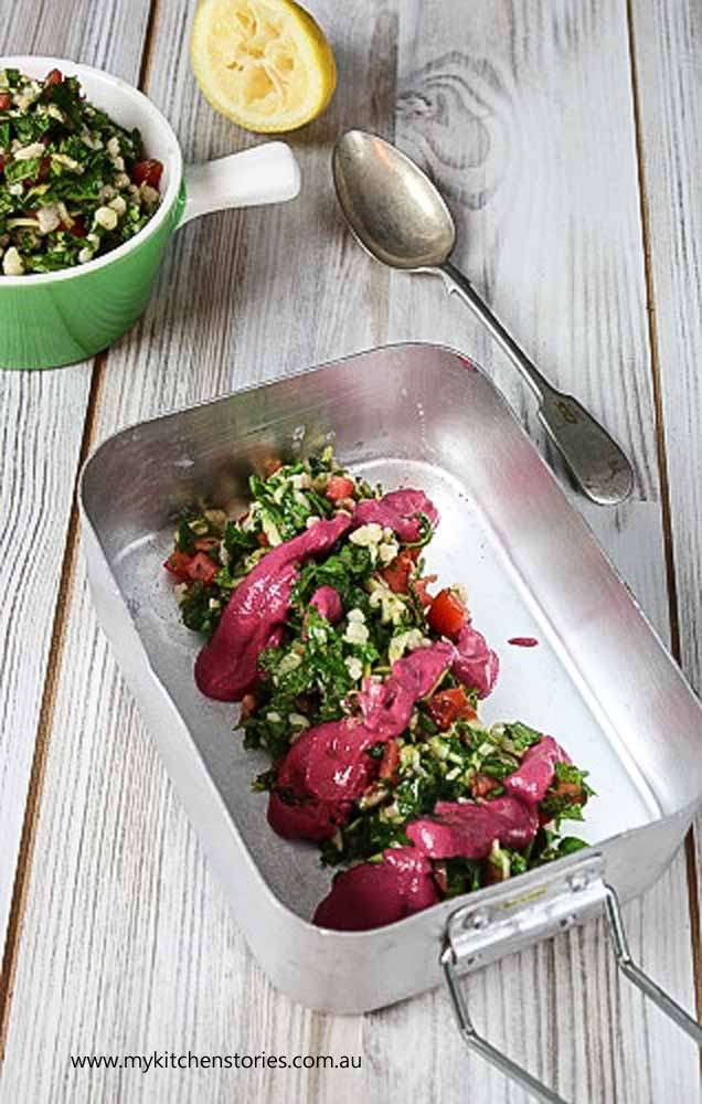 Lamb with Tahini beetroot dressing