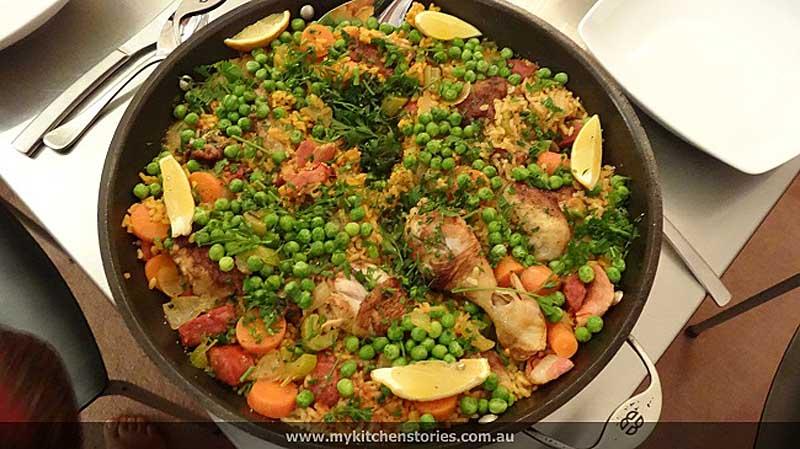 Chicken Chorizo Paella in a pot