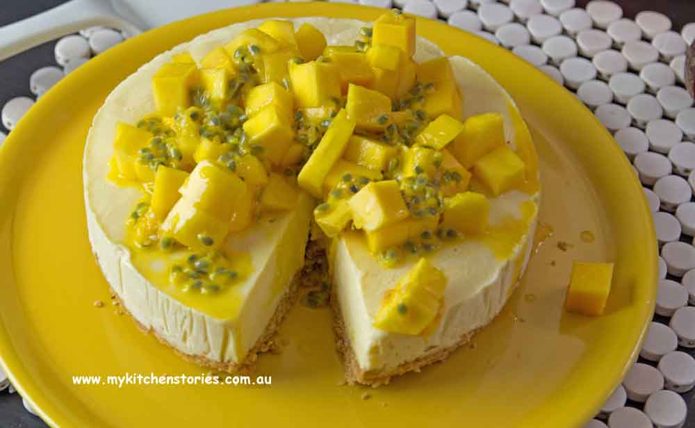 Tropical mango and Passionfruit icecream tart