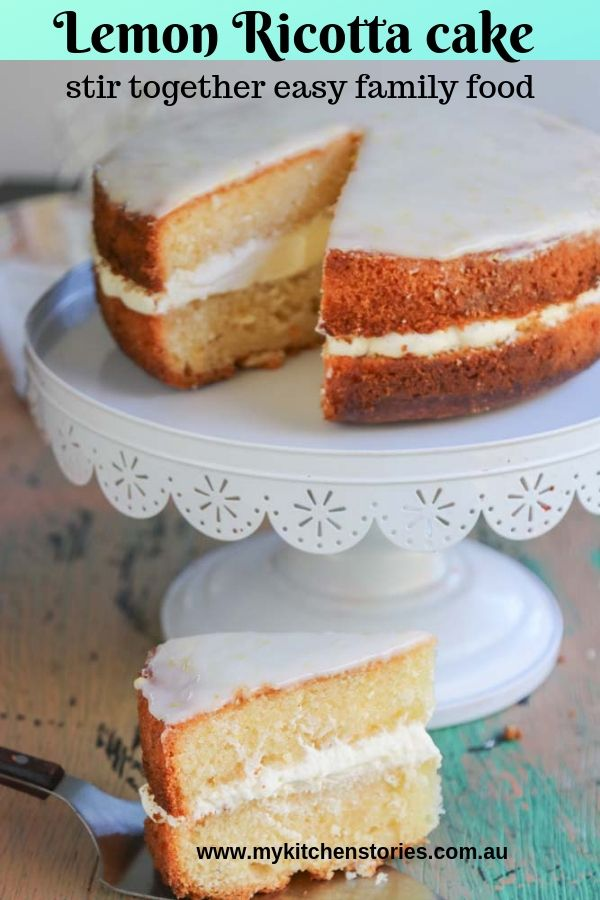 lemon Ricotta cake with whipped ricotta cream on a cake stand