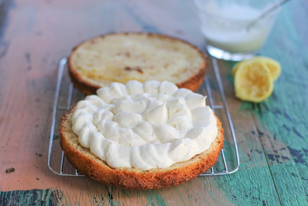 Ricotta Cake filled with whipped ricotta cream