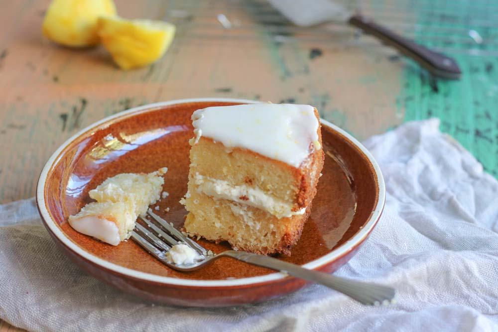 A slice of ricotta lemon cake