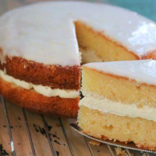 Lovely moist ricotta lemon cake with whipped ricotta cream