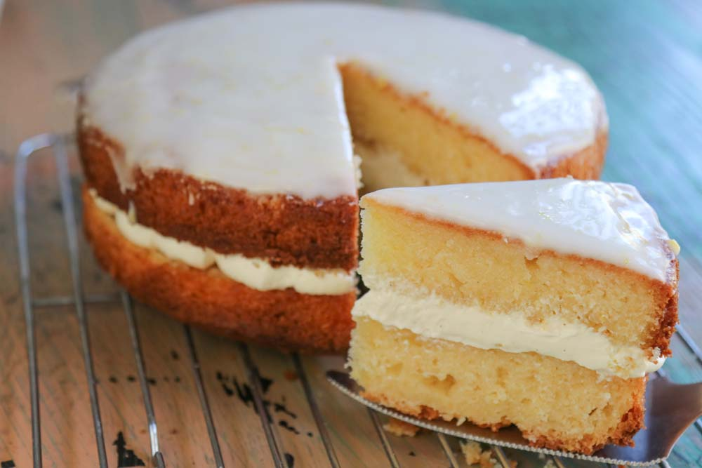 Lovely moist ricotta lemon cake with whipped ricotta cream