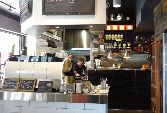The open kitchen at Hub House Diner