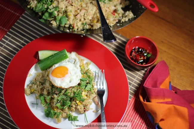 Cauliflower Fried Rice on a red plate