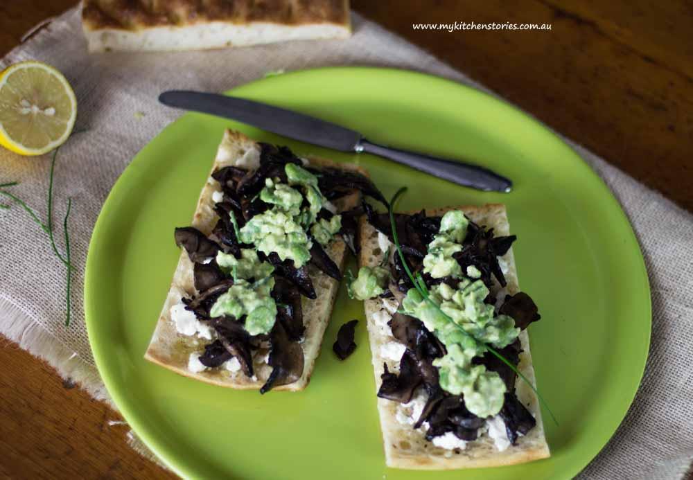 Mushroom, Broadbean, Goat Cheese Focaccia