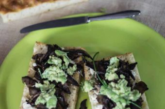 Mushroom Broad BEan and Goat Cheese Focaccia