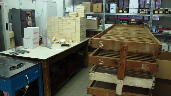 The old wooden rakes for storing the paste