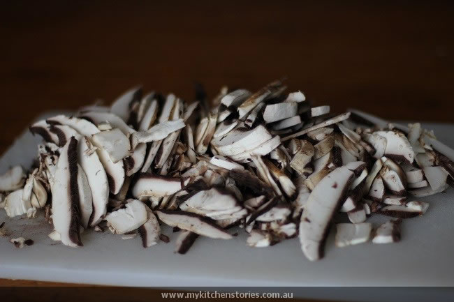 very thinly sliced mushrooms