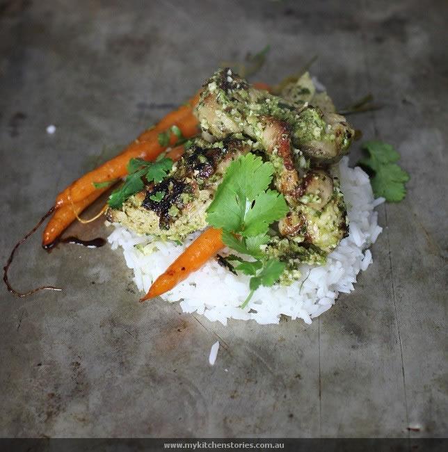 Chicken rice and coriander pesto