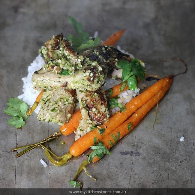 Coriander macadamia Pesto Chicken with tiny carrots