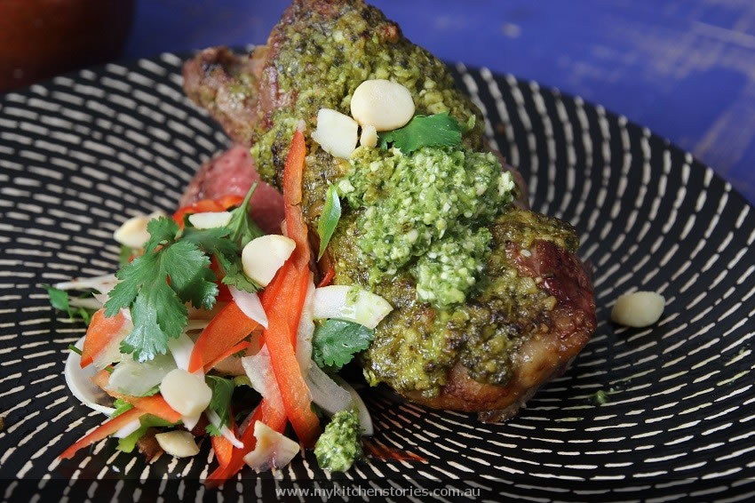 Coriander Macadamia Pesto with Lamb