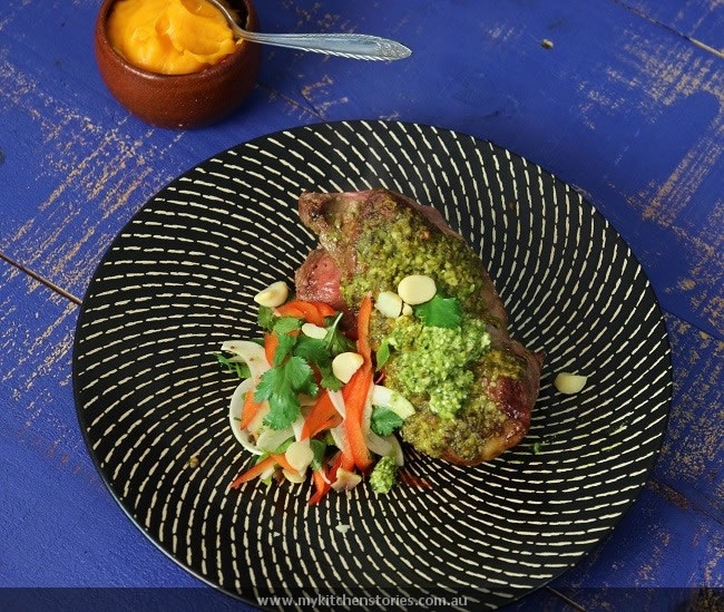 Coriander Macadamia Pesto with Lamb Rump