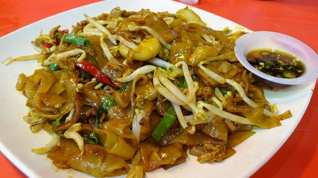 Char Kuay Teo or wok fried flat rice noodles