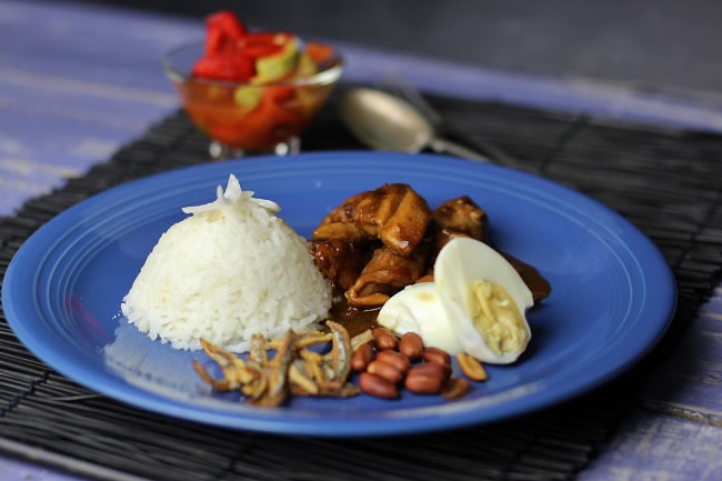 Nasi Lemak on a blue plate