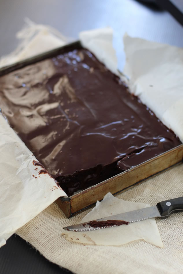 chocolate ganache coated brownies