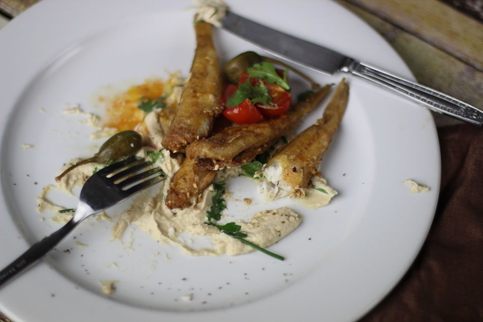 Fried Whiting and Eggplant puree