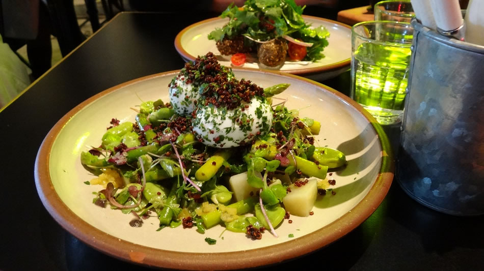 Quinoa Eggs and felafal and salad