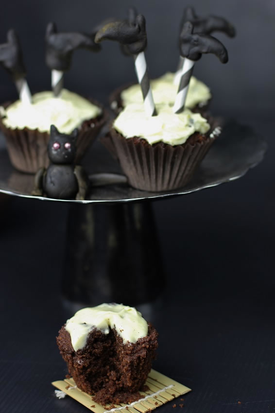 Chocolate Halloween Cupcakes with Witches legs