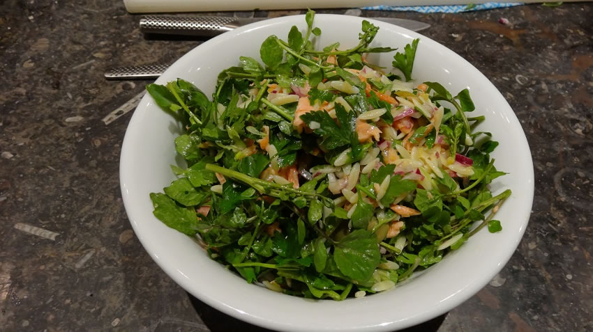 Hot smoked trout salad