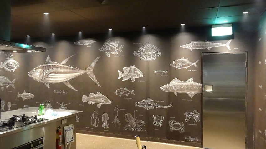 The walls in the Sydney Seafood school