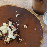 hazel Praline on top of a chocolate tart