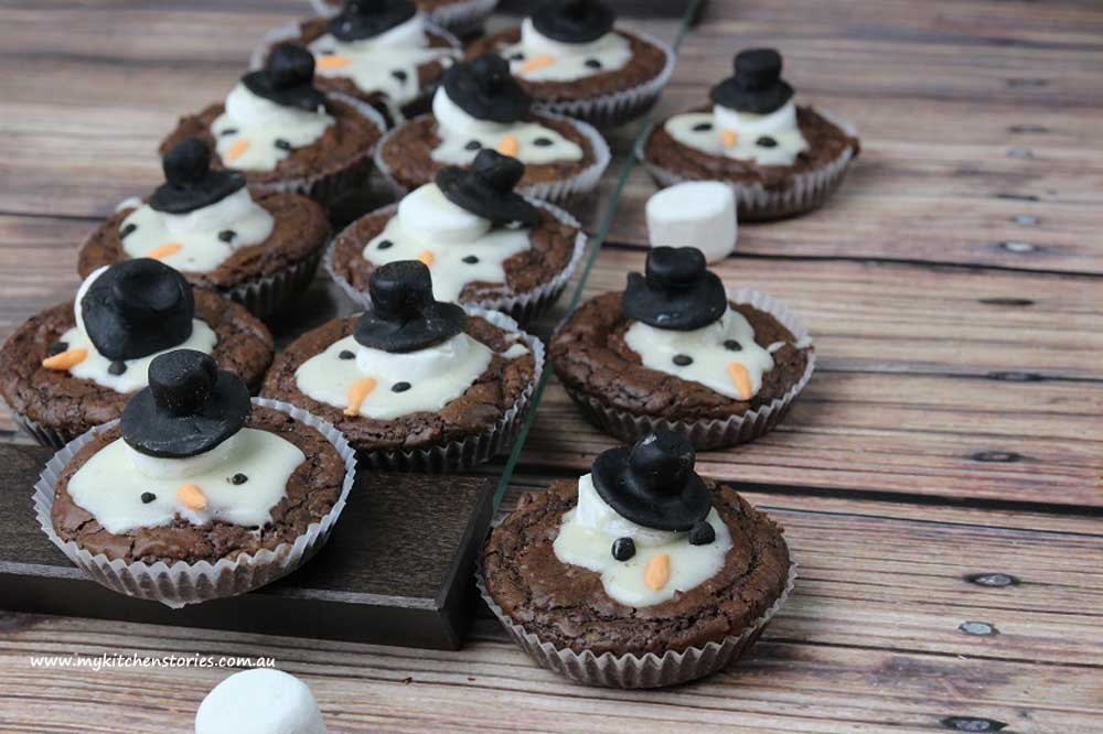 Melted snow man brownies