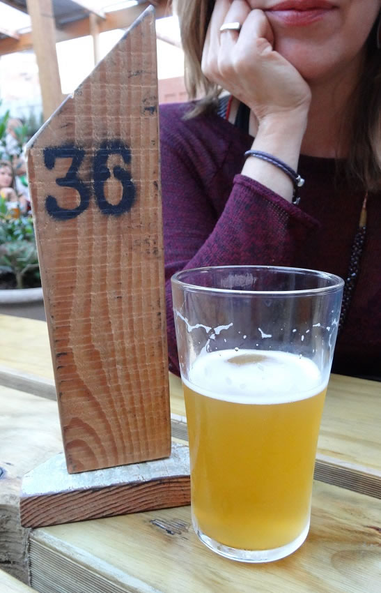 Beer garden with real craft beer on tap