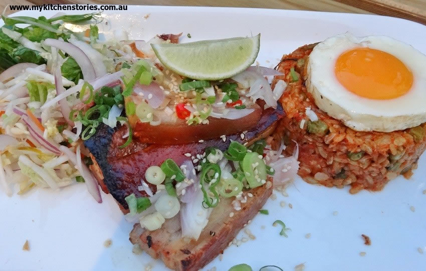 Brown rice & kim chee goreng, free-range pork belly, fried egg & sambal $25