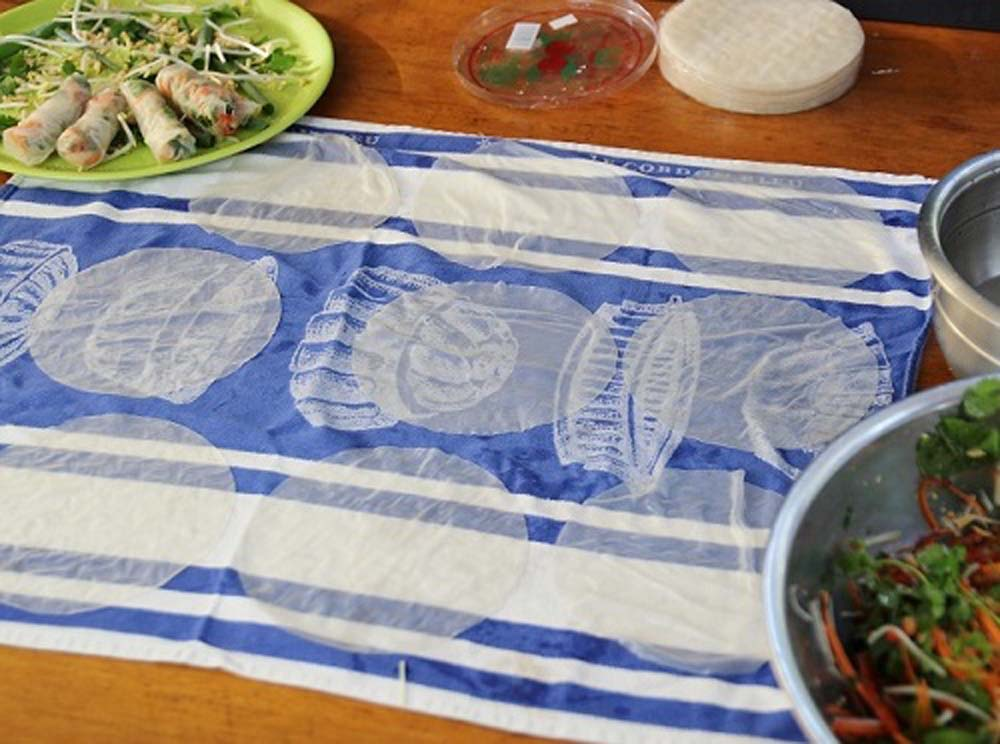 Vietnames Rice Paper rolls on a teatowel