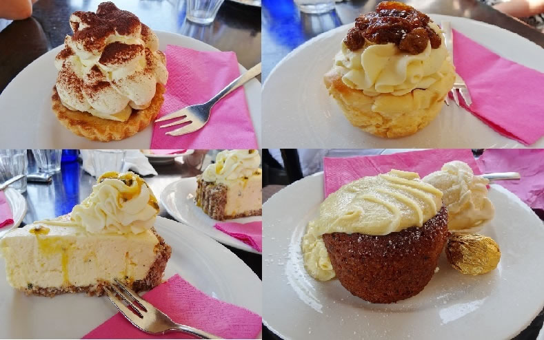 Banoffe Tart, baked Raisin rum cheesecake, Raw Pasionfruit Cheesecake with nut cocnut base and the sticky date served warm